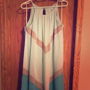 Long, spaghetti strap dress.